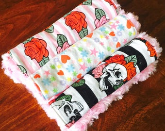 Baby Girl Burp Clothes, Set of 3, Skulls, Roses, Punk Baby, Rocker Baby, Vintage Baby, Baby Gifts,