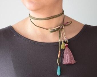 Long Tassel Choker Necklace-SALE!