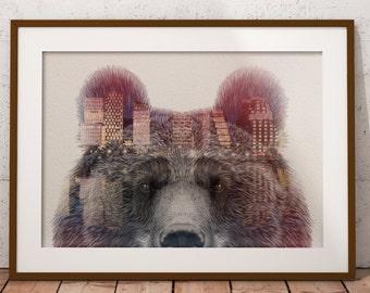 Bear, Animal, Print, Poster, Norway, Oslo skyline, Nature Art, Brown Bears, Forest Creatures, Minimalism, Exposure