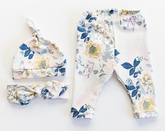Baby leggings, Sizes Newborn or 0-3 months, Wild Posy Ethereal, baby shower gift, girls pants, + optional hat or headband, floral legging