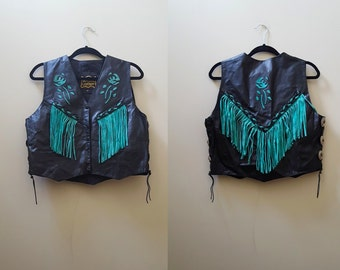 80s Leather Vest / Aqua and Black 1980s Leather Fringe Vest with Conchos