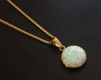 14K Opal Necklace, White Opal Pendant, Gold Necklace, Gold Pendant, Opal Jewelry, Gold Chain, Small Opal Pendant, White Opal, Opal Pendant