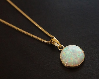 Vintage opal pendant necklace tourmaline and pinfire opal 14k opal necklace white opal pendant gold necklace gold pendant opal jewelry aloadofball Image collections