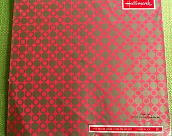 Vintage 60s Mod Hallmark Gift Wrapping Paper Red with Gold Circle Design 2 Sheets New in Package Unopened