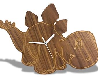 Modern Wooden Kids Dinosaur Wall Clock