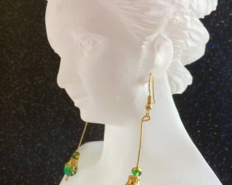 Green and Gold Filigree Earrings
