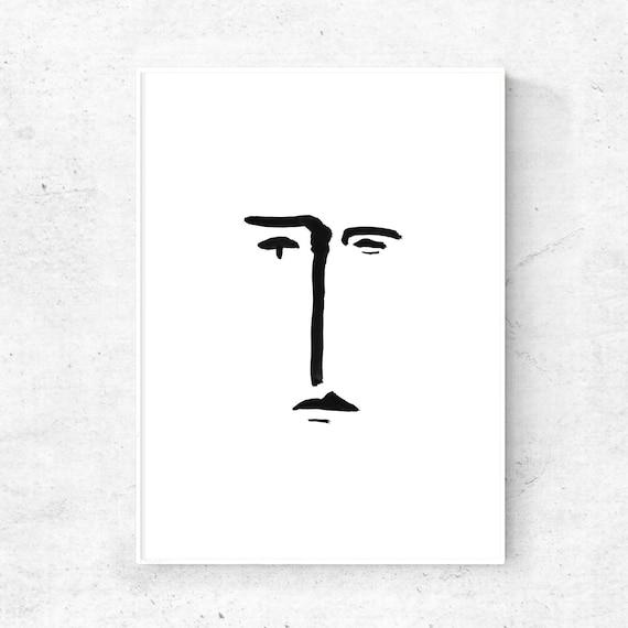 Minimal art print schwarze linie druck skizze kunst for Art minimal livre