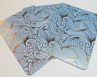 3x4 Blue/Gold Unicorn Hair Cards Set of 3