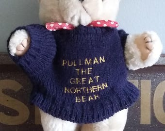 10 inches tall teddy bear, adorable, jumper and necktie, Pullman The Great Northern Bear, Advertising Merchandise, Promotional Product,1990s
