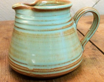 Prinknash Jug in red earthenware with pale green glaze (stock#6417)