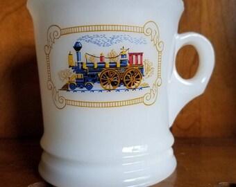 "Vintage 1970's Avon Shaving Mug, Milk Glass, ""Iron Horse"" Train"