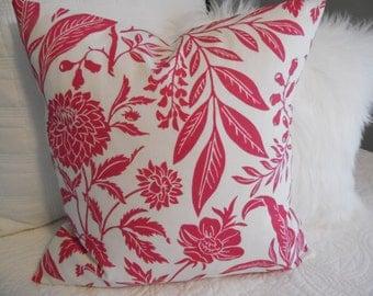 Chic Toile Fuschia. Pillow Covers. Nursery.Girls Room.Sunroom.Living Room Decor. White.Fuschia.Leaves.Floral.Flower.