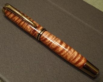 Hand Turned Curly Hawaiian Koa Jr. Gentleman Fountain Pen