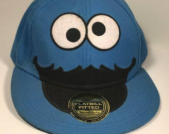VINTAGE BASEBALL HAT cap original sticker tag on bill Cookie Monster blue Sesame Street flatbill fitted L/Xl large extra