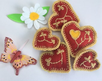 Hand stitched love heart brooches