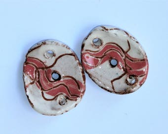 Set of 2 oval connectors, cambered, white, red, wavy line brown, 3 holes, handcrafted ceramic, components for beading, art beads