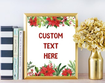 Custom Quote,Christmas Print,Christmas Quote,Custom Art,Custom Poster,Quote Print,Custom Watercolor,ersonalized Poster,Floral Quote Print