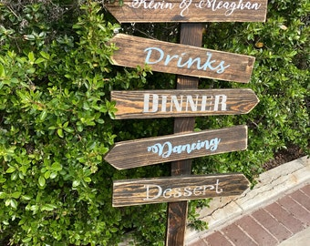 Custom Directional Wedding Sign with stake