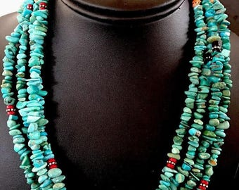 Exquisite Native American Sterling Silver Turquoise  Multistrand Stone Necklace