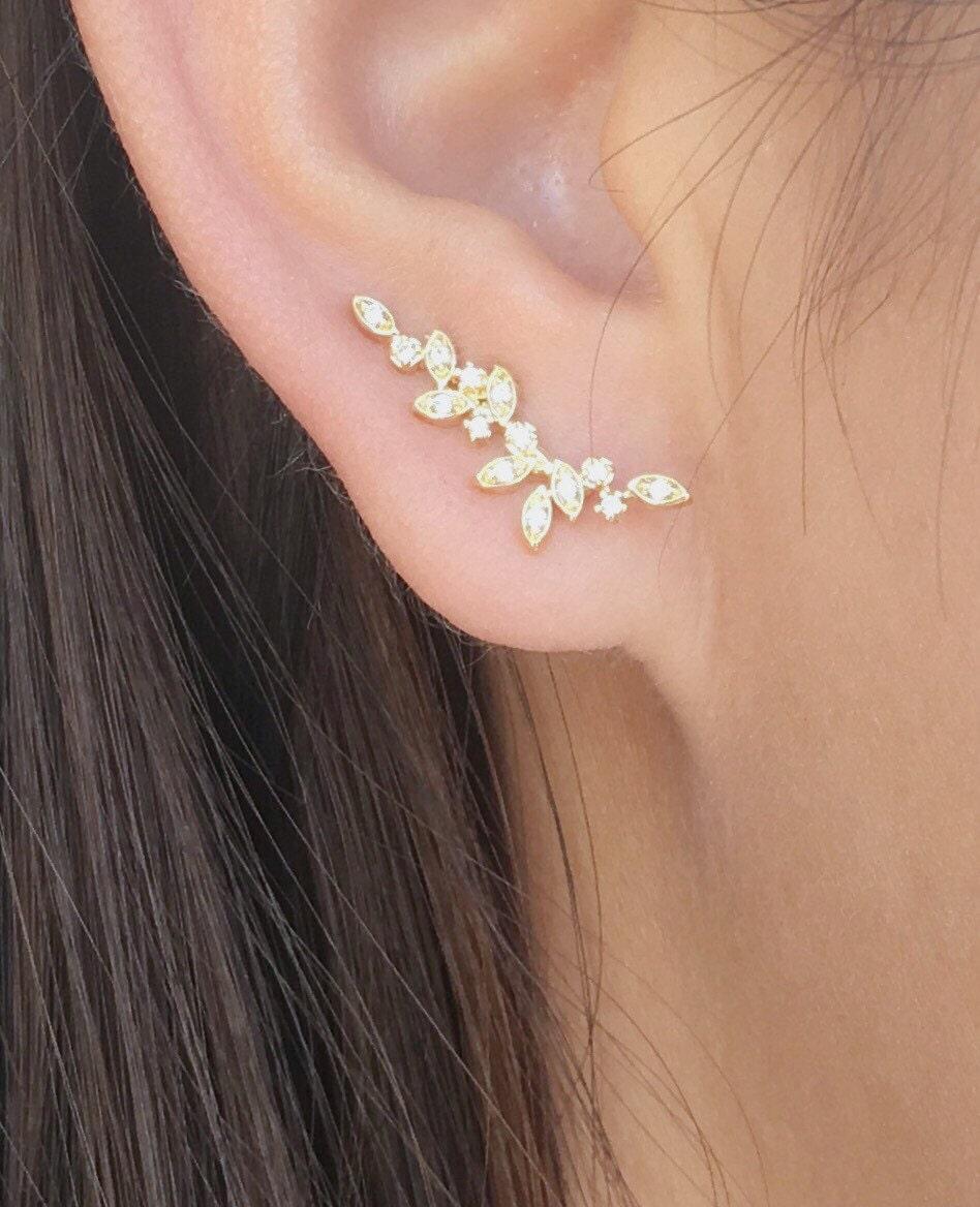 Dainty Vine Ear Climbers  Ear Crawlers Earrings  Ear Climber Earrings   Ear Crawlers