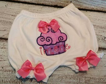 Customized girls first birthday bloomers, personalized first birthday bloomers,first birthday cupcake bloomers,custom baby bloomers