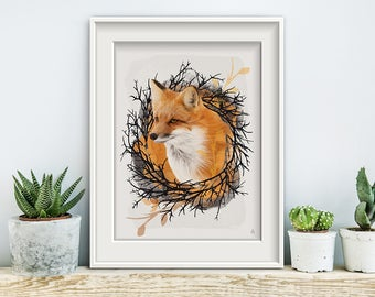 Twig N Foxy, poster, print, prints, artwork, premium print, wall art, Fox, branch