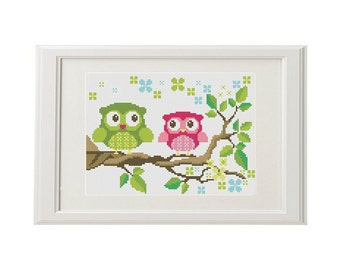 Owl Cross Stitch Pattern love valentine Cross stitch  funny  Bird Cute cross stitch pattern modern digital download