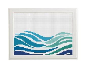 wave  geometric cross stitch pattern Modern Sea Nautical embroidery cross stitch green blue