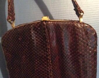 SALE// Leather handbag/vintage/50s/brown/Inner zipper pocket/