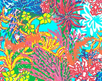 """22""""x18"""" ~ FISHING FOR COMPLIMENTS ~ Lilly Pulitzer Fabric"""