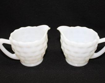 White Milk Glass Creamer Set of 2