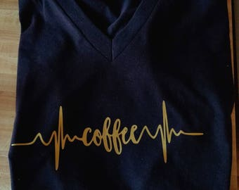 Coffee shirt/Coffee T-Shirt/Can't live without Coffee/Need Coffee/Heart Beats Coffee/Coffee Lover/Shirt