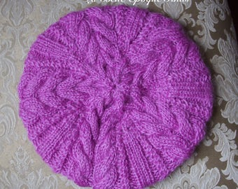 Pink beret, womens winter hat, french beret, womens knit hat, hand knitted beret for women, aran hat, ready to ship