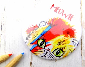 David Bowie Cat Print Pocket Mirror, Cute Funny David Bowie Cat Lover Gift