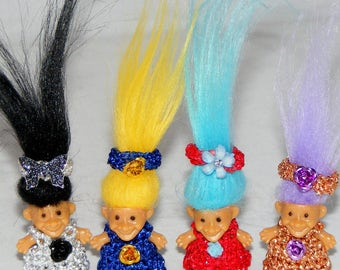 "Your Choice, 7/8"" Troll Doll, Choice from Silver Dress, Blue Dress, Red Dress or Copper Dress Troll Doll"