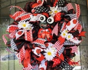 Ladybug Wreath-Mini, Teacher Wreath-Mini, Classroom Wreath-Mini, School Wreath-Mini, Classroom decor, Classroom Door Hanger