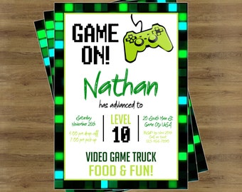 video game invite  etsy, party invitations