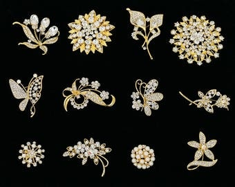 12 PC Wholesale Bulk Gold Rhinestone Crystal Brooch - Bridal Wedding Bouquet Brooches - Mis Quince Bouquet Brooches - Mixed Wedding Brooches
