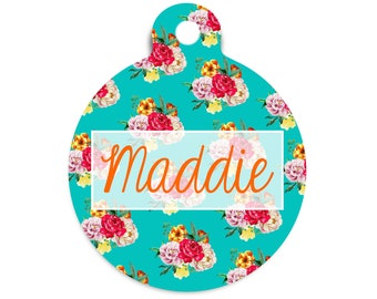 Bright Floral Pet Id Tag, Tropical Dog Tag for Dogs, Summer Floral Cat Id Tag, Modern Name Tag for Pets, Id Tag for Vets, Nurse Name Badge