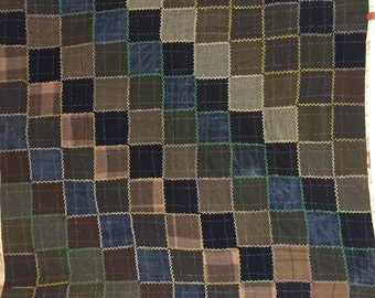 Vintage Quilt Crazy quilt Embroidery wool Flannel brown antique bedding