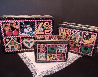Set of Three Decorative Christmas Tinsmade in 2000, (# 819/bb49)