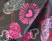 Dark Grey Large Hearts from the Adore Collection by Henry Glass, Choose Your Cut, Red and Pink, Kiss
