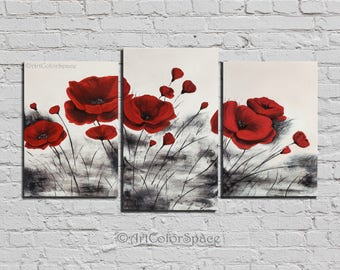 "Abstract painting Red poppies flower Oil painting on canvas Abstract art Impasto painting Gift Textured palette knife Size 44x24"" (110x60cm)"