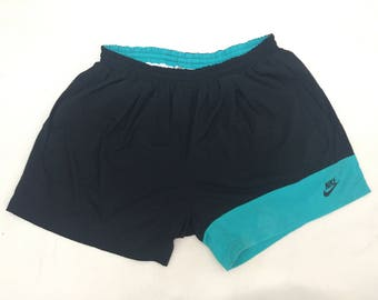 Vintage 90s Nike Short Pants/Nike Gray Tag/Sportswear Activewear/Black with Sea Green/Size XL