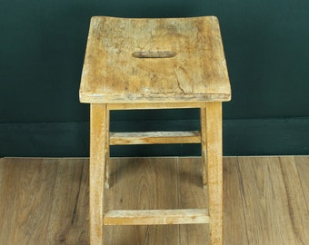 Vintage lab stool - wooden 1950s stool - kitchen bar stool - vintage furniture