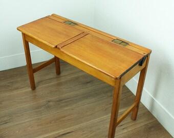 Vintage children's school desk - 1950s double school desk - Kingfisher ltd children's school desk - vintage kids furniture
