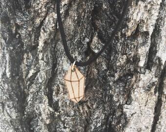 Woodburned Birchwood Crystal Pendant Necklace