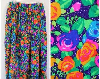 Vintage 1970s Neon Floral Maxi Skirt - 70s Rose Print Bright Floor Length Skirt - Plus Size, 4X, 5X. 6X