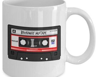 BROADWAY MIXTAPE Mug - Musical Theatre Fan Gift - Retro Novelty Mug - 11 oz white coffee tea cup