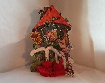 Gorgeous Vintage Valentine, 3-D, Boy Girl, Cherub, Sunflowers, Black Cat
